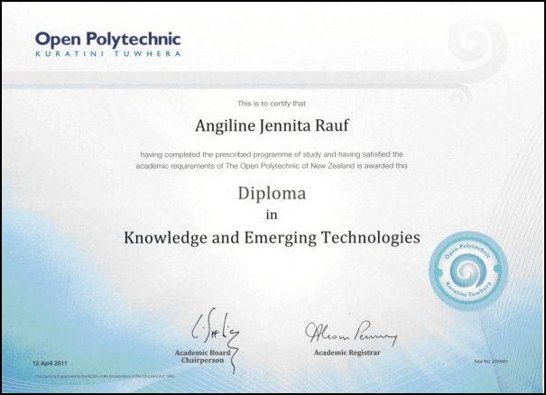 Diploma in Knowledge an Emerging Technologies -Angiline Rauf